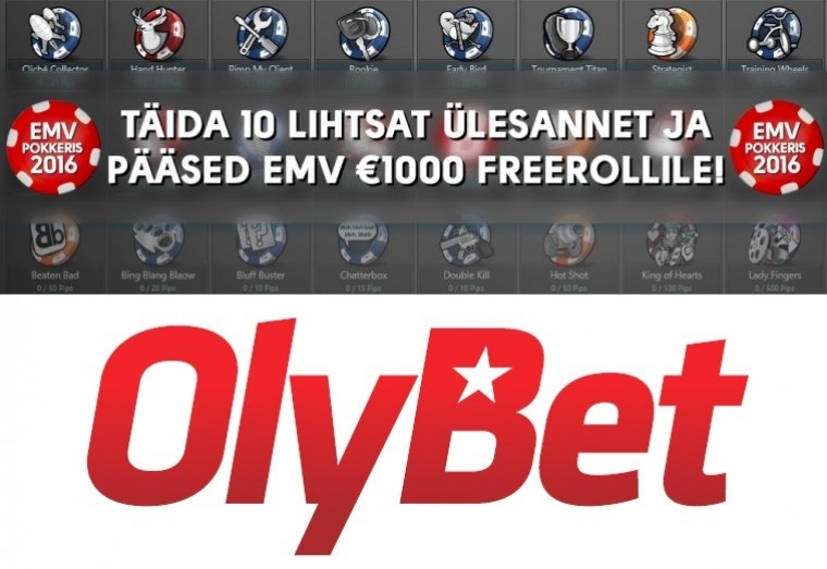 OlyBet pokkeris missioon EMV - täida 10 lihtsalt ülesannet ja pääsed freerollile