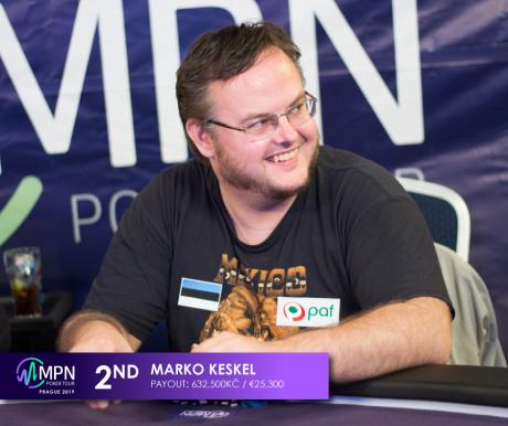 "Marko ""Naxer"" Keskel tuli MPN Poker Tour Praha põhiturniiril teiseks (25 300 €)"