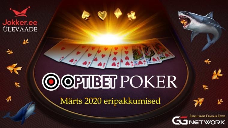 Optibeti pokkeritoa eripakkumised 2020. aasta märtsis