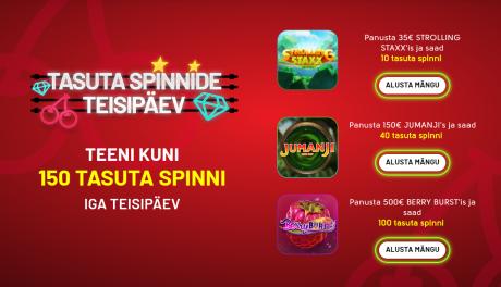 OlyBeti kasiinos iga nädal tasuta spinnide teisipäev (saa 150 tasuta keerutust)
