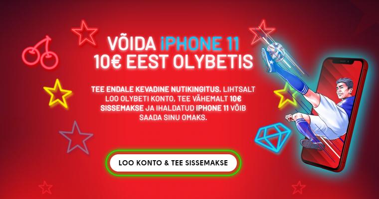 OlyBet annab konto avamisel ja deposiidi tegemisel iPhone 11 (128 GB) päriseks!