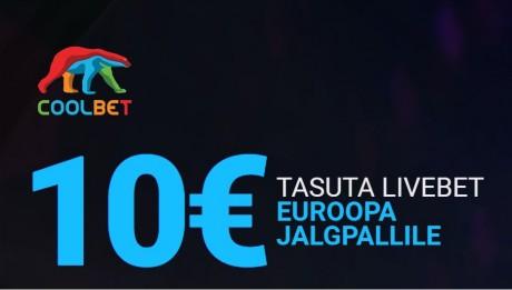 Sind ootab Coolbetis 10-eurone TASUTA live-panus Euroopa jalgpallile