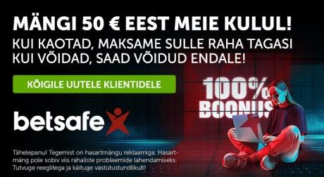 Mängi TÄIESTI RISKIVABALT: kui kaotad, maksab Betsafe Sulle kuni 50 € tagasi!
