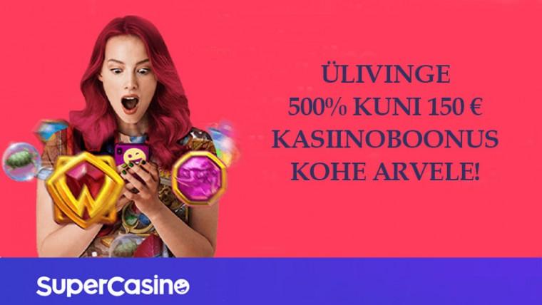 SuperCasino.ee meelitab uusi mängijaid ulmelise 500%-lise boonusega!