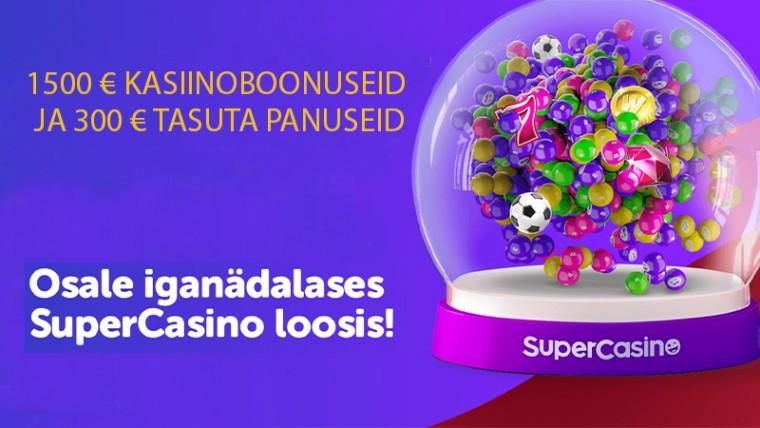 SuperCasino loosib uutele klientidele tasuta panuseid ja riskivabu boonuseid!