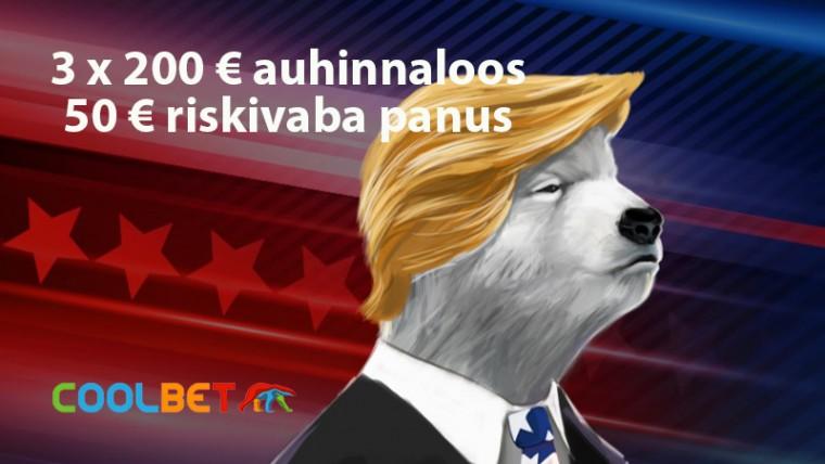 Trump või Biden? 3 x 200 € auhinnaloos + 50 € riskivaba panus Coolbetis