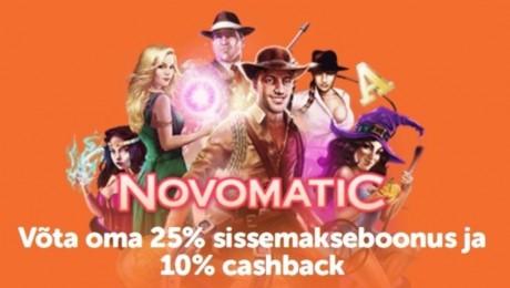 Novomaticu mängud nüüd ka SuperCasinos: Võta oma boonus ja cashback!