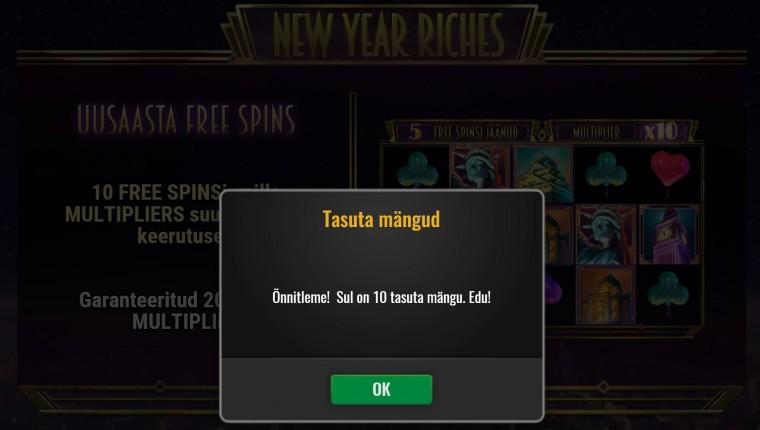 Alusta 2021. aastat tasuta spinnidega uues mängus New Year Riches!