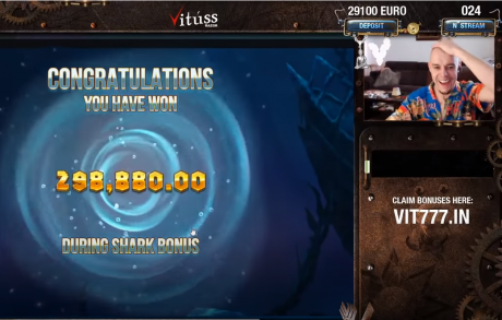VIDEO: Vaata kuidas Razor Shark boonusmäng tõi 298 880 € võidu!