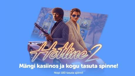 Panusta SuperCasinos ja teeni kolme päevaga kuni 180 spinni mängus Hotline 2!