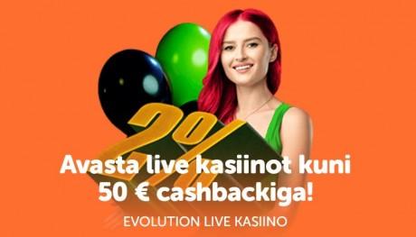 Avasta SuperCasinos Evolutioni live-mänge ja teeni kuni 50 € cashbacki!