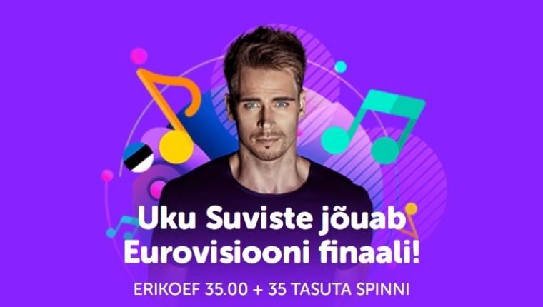 Kas Uku Suviste jõuab Eurovisioonil finaali? Panusta SuperCasinos koefiga 35.0!
