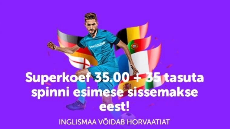 Kas Inglismaa võidab Horvaatiat? Panusta superkoefiga 35.0!