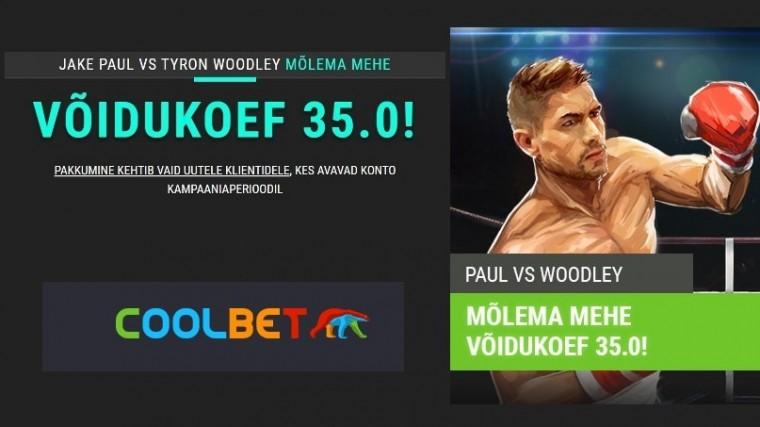 Paul või Woodley? Panusta Coolbetis mõlemale mehele megakoefiga 35.0!