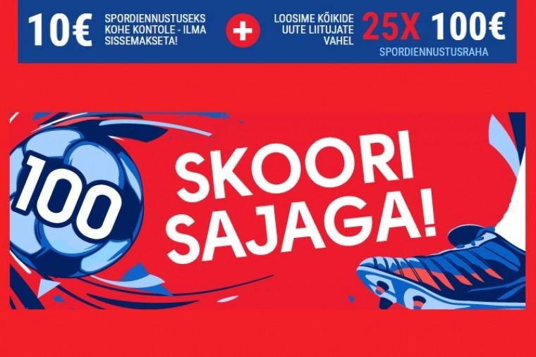 Uutele mängijatele €10 tasuta + võimalus osaleda 25x€100 loosimises