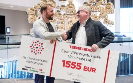 Eesti pokkerimängijad annetasid vähihaigete laste vanemate toetuseks 1555 eurot