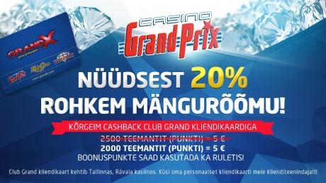 Casino Grand Prix tõstis märgatavalt püsikliendi cashbacki