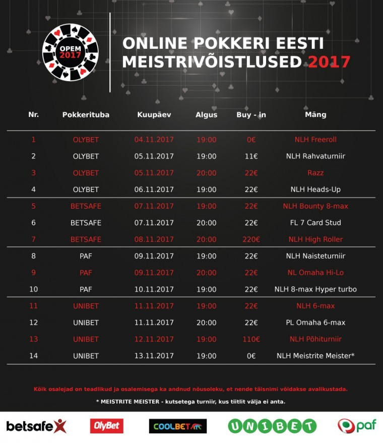 Laupäeval algavad 2017. aasta online-pokkeri Eesti meistrivõistlused